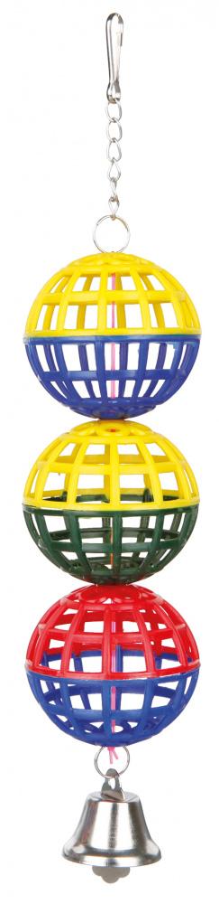 3 gaasballen met ketting en klokje, 16 cm